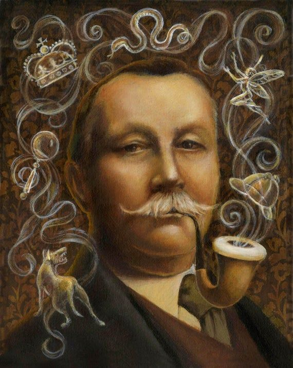 Arthur Conan Doyle Portrait Print- Victorian Author Portrait – Literary Portrait – Sherlock Holmes