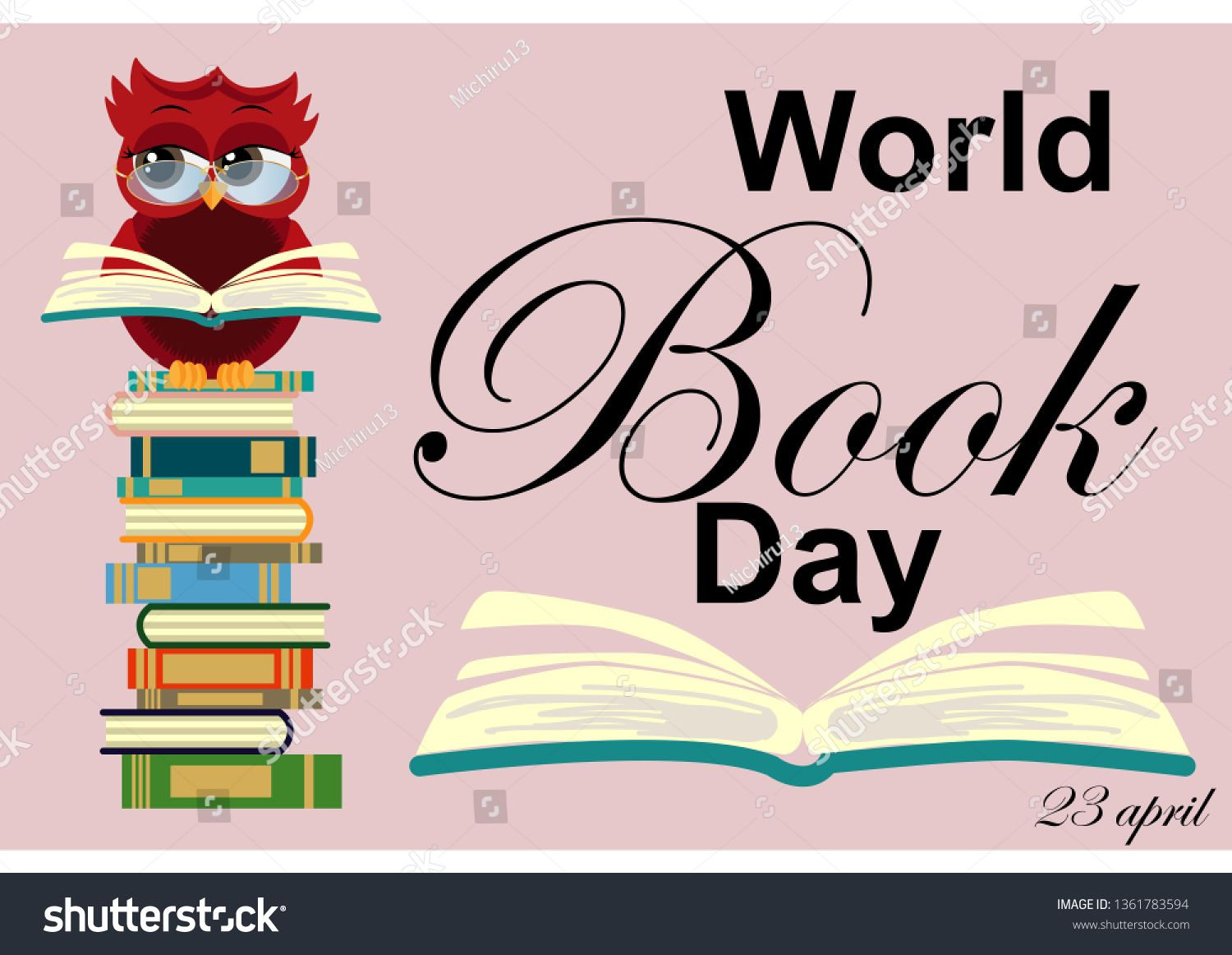 World Book Day Smart Owl On Stack Of Books Open Book And Lettering On Teal Background Knowledge Education Studyi Learning Poster Open Book Teal Background