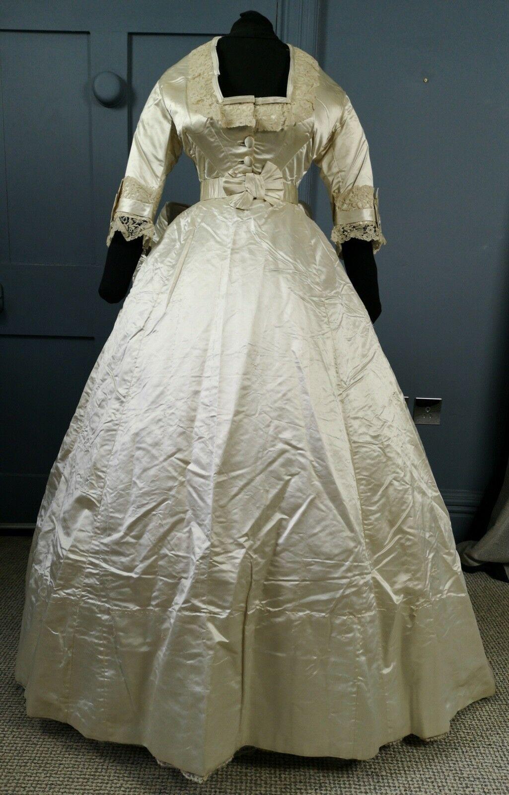Magnificent Victorian 1860s / 1870s Bustle Wedding Dress