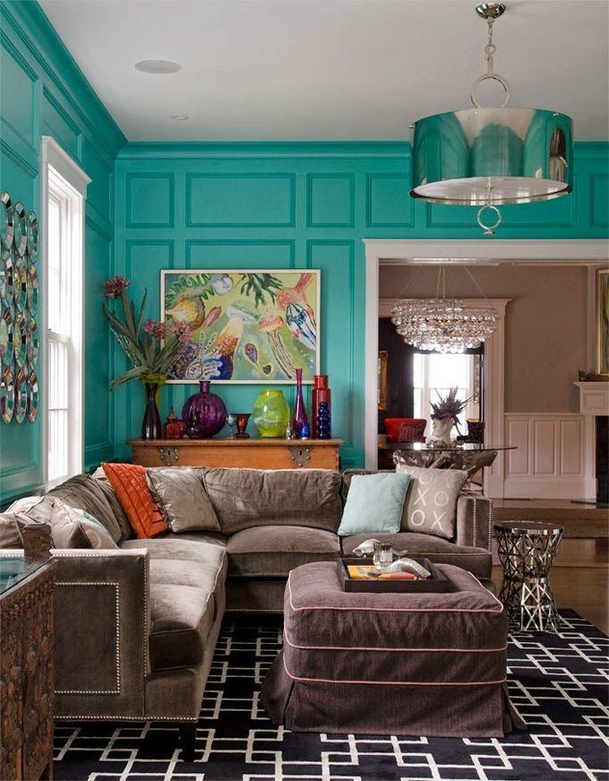 9 fotos de decoración de salas en color aguamarina Living rooms