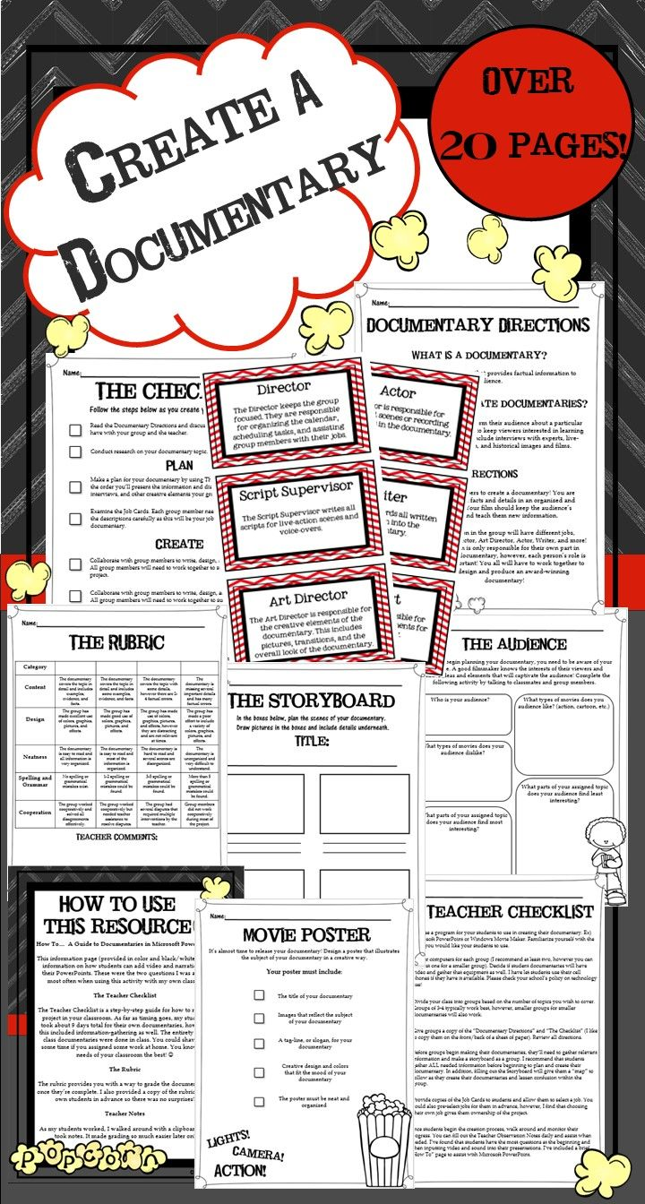Create a Class Documentary Project | Graphic organizers, Graphics ...