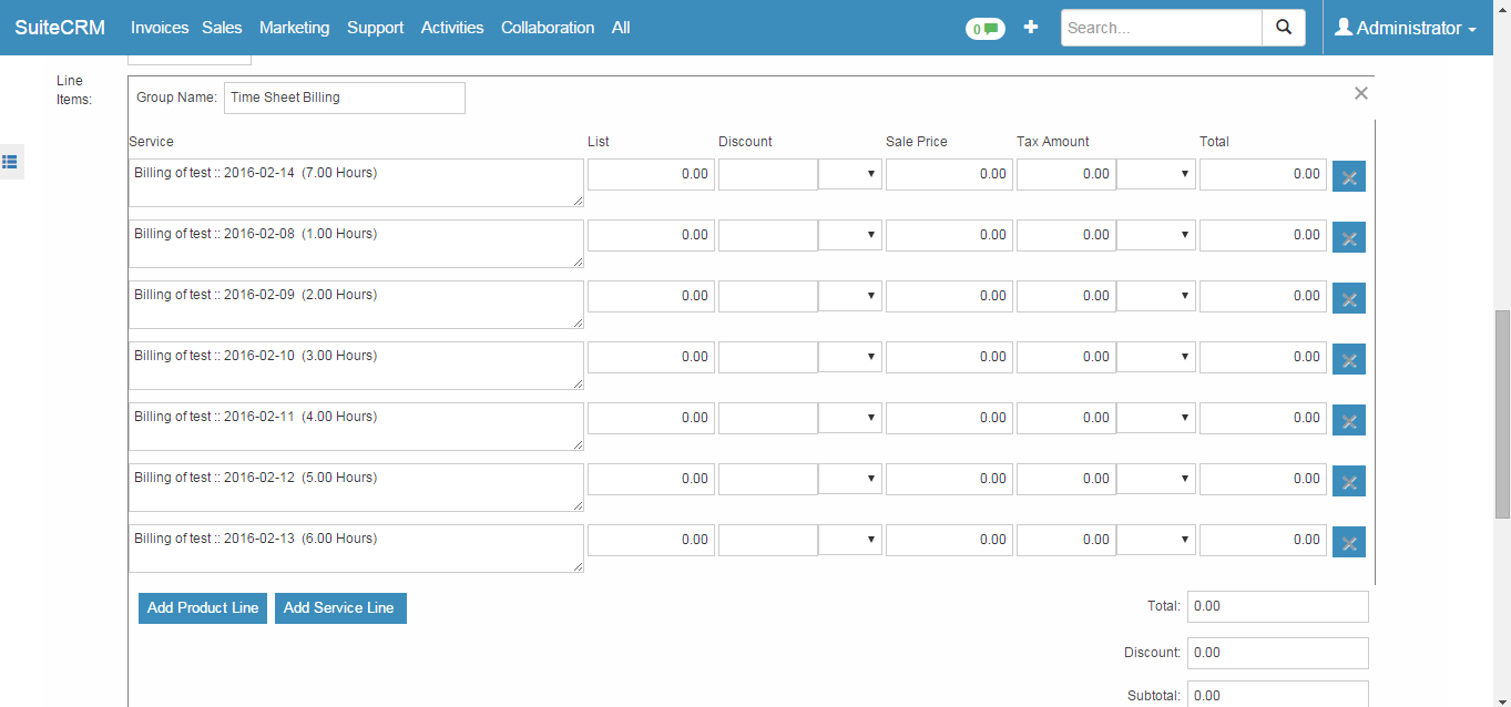 Create And Invoice Custom Timesheets & Invoicing  Generate A Suitecrm Invoice Billable To .