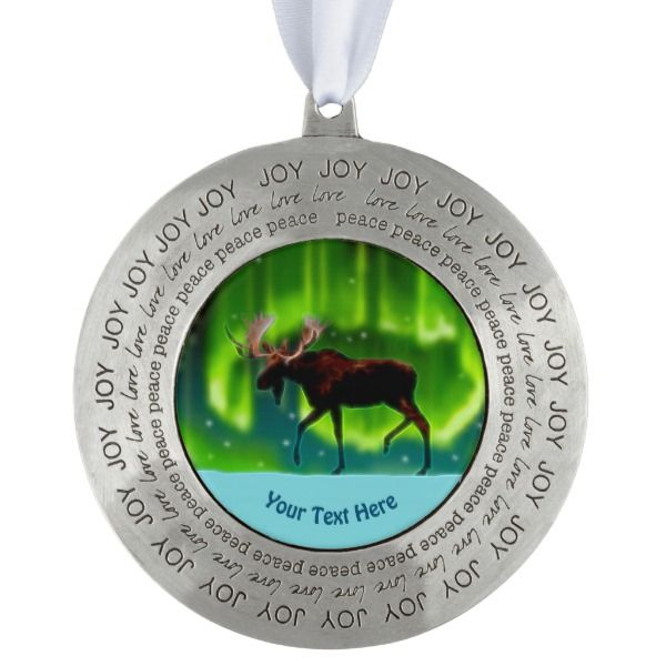 Northern Lights Moose Ornament Zazzle Custom Christmas Pinterest