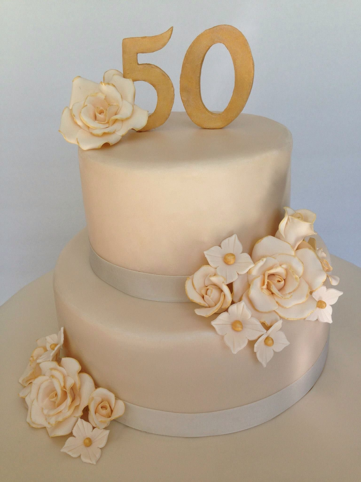 50th Wedding Anniversary Cake Simple Yet Elegant