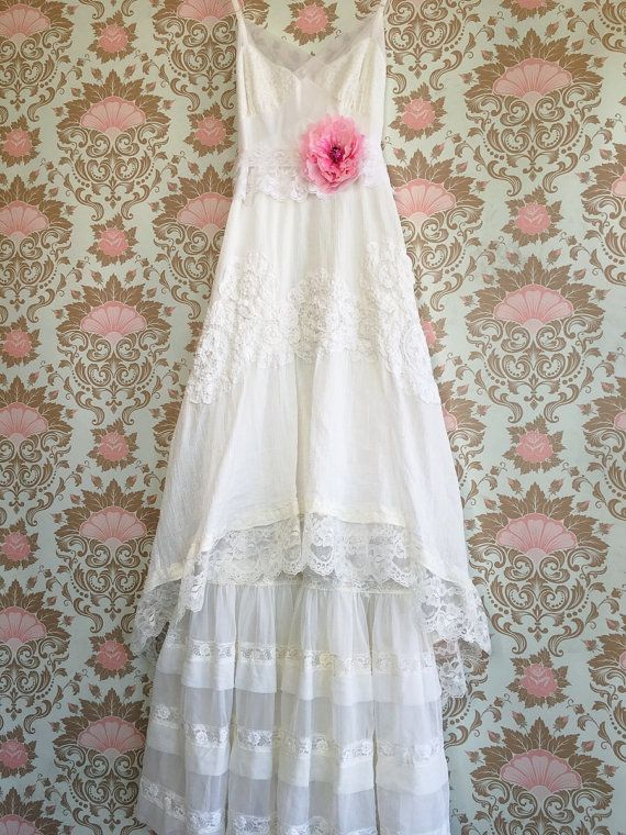 White cotton tiered lace boho wedding dress by Mermaid Miss Kristin ...
