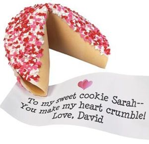 Heart Sprinkles Giant Fortune Cookie | Purchase from Gourmet Cookie Bouquets  ( http://www.gourmet-cookie-bouquets.com/heart_sprinkles_giant_fortune_cookie.html)