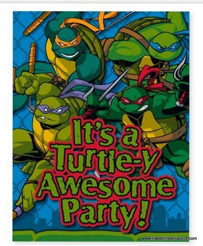 Ninja Turtles Party Invitations Favors Tmn Mike Leo Don Raph ...
