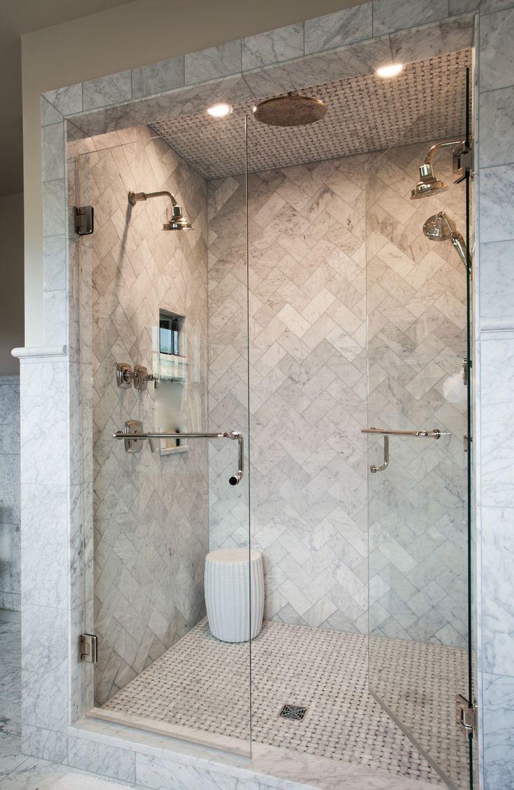 Love this marble herringbone shower Source marble tiles