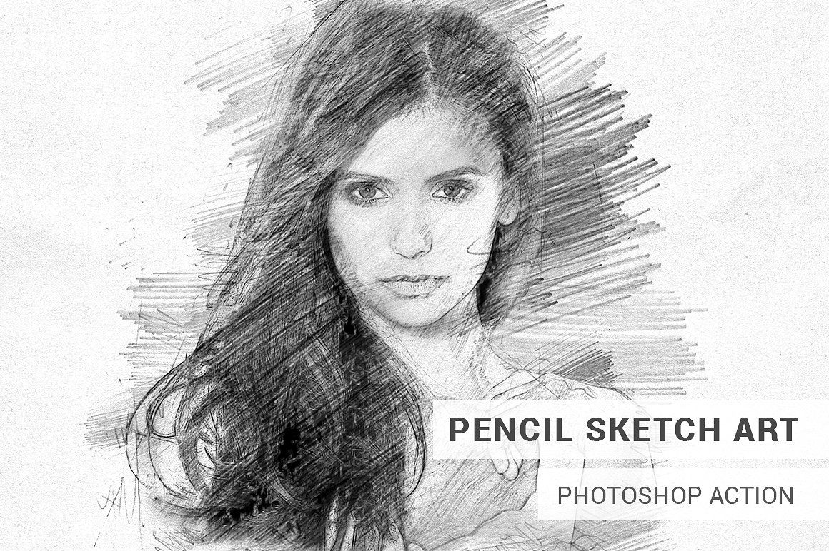 Pencil sketch art photoshop action by slidesalad on creativemarket
