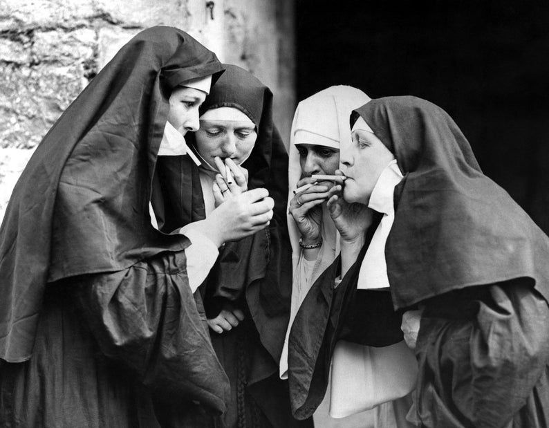 Nuns Smoking Print, Smoking Nuns, Vintage Photo Print, Black and White Photo, Museum Quality Photo Art Print, Wall Art, Funny Art