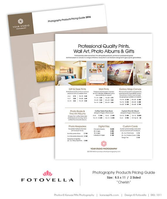 Price List Template - Pricing Guide - Photography Print Products