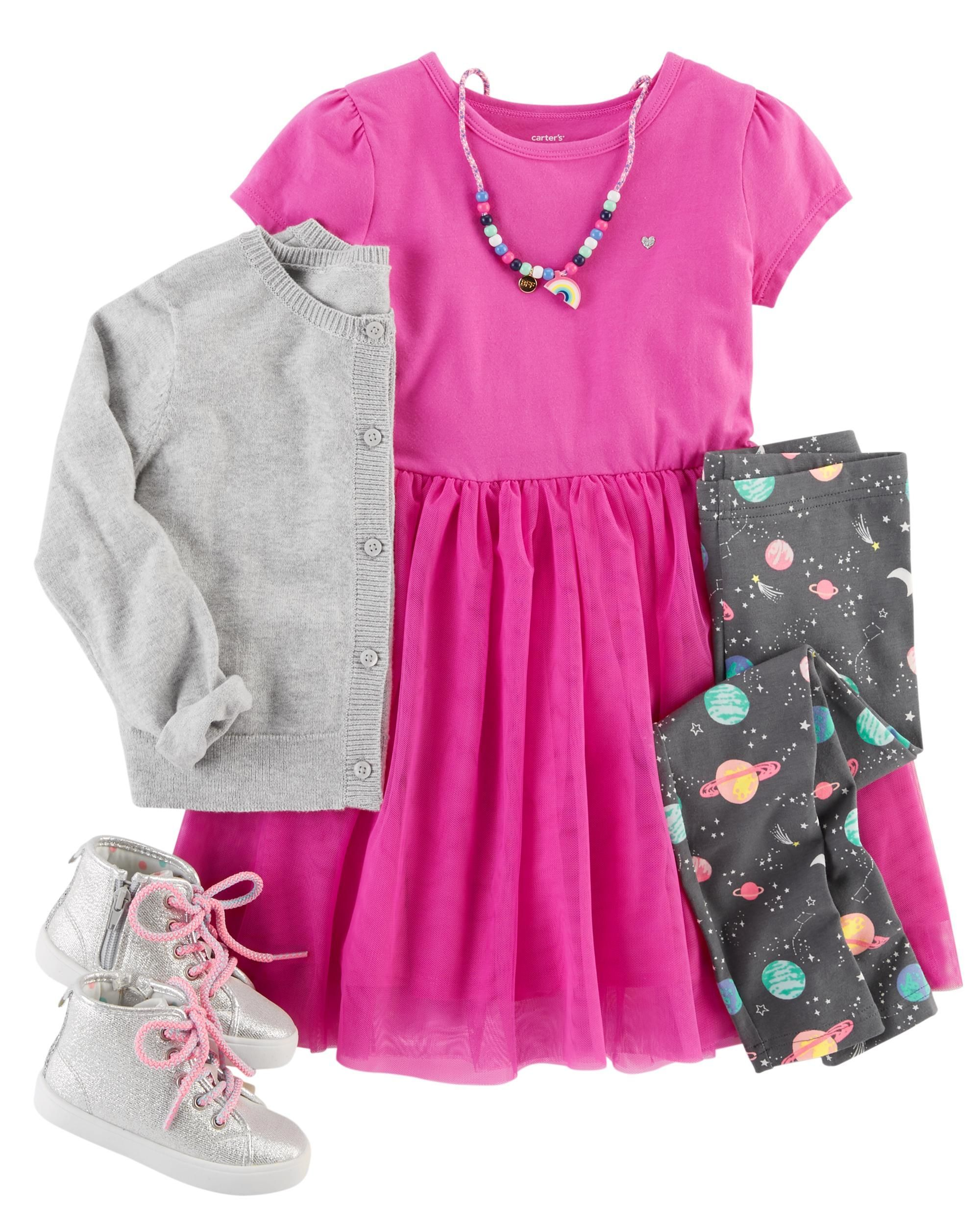 7096fcb4f46c Just in time for spring, this sweet outfit features a tutu jersey dress,  out-of-this-world space leggings and a knit bow cardigan. Pair with silver  high top ...