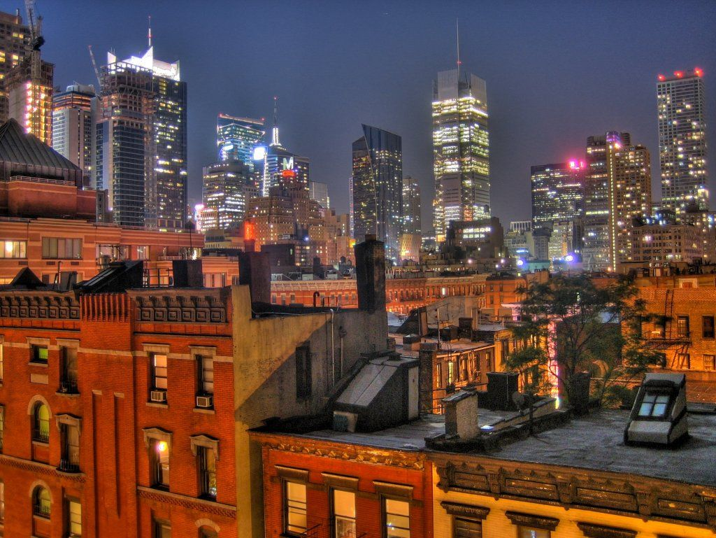 View of the midtown skyline from a rooftop in Hell\'s Kitchen ...