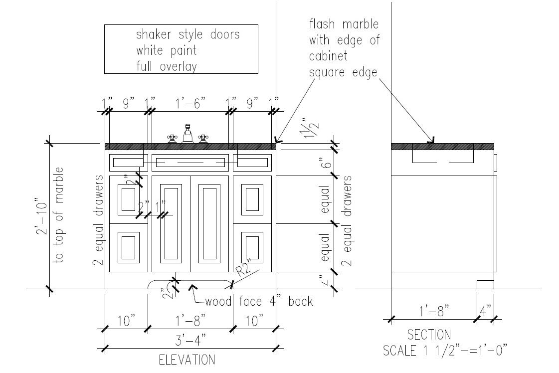 Basic shop drawing for simple bath vanity cabinet showing all details this image shows both
