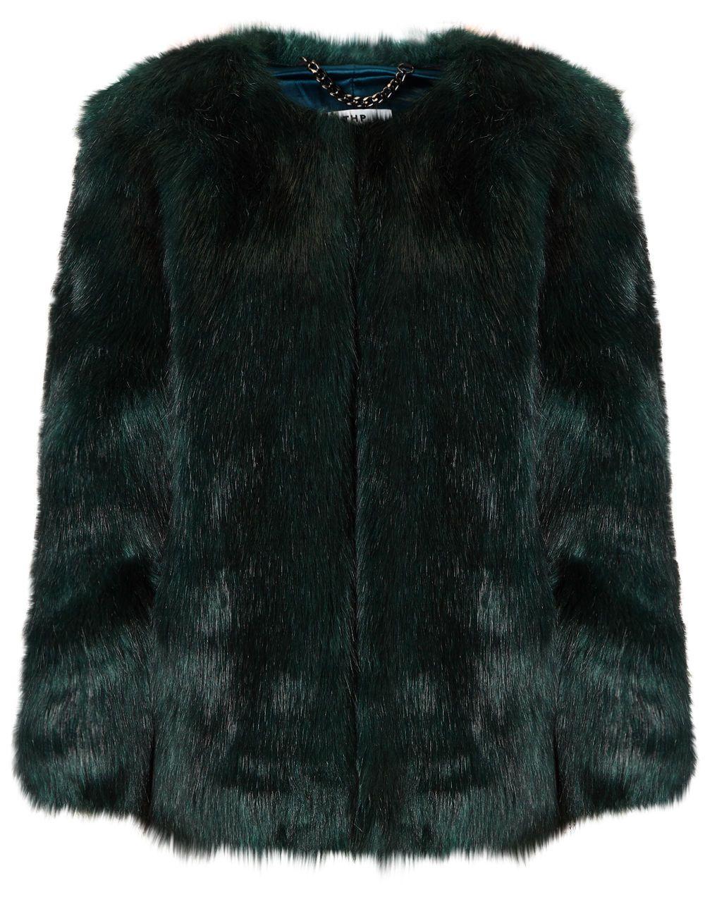 Emerald Faux Fur coat - THP Shop | Kara Style | Pinterest | Coats ...