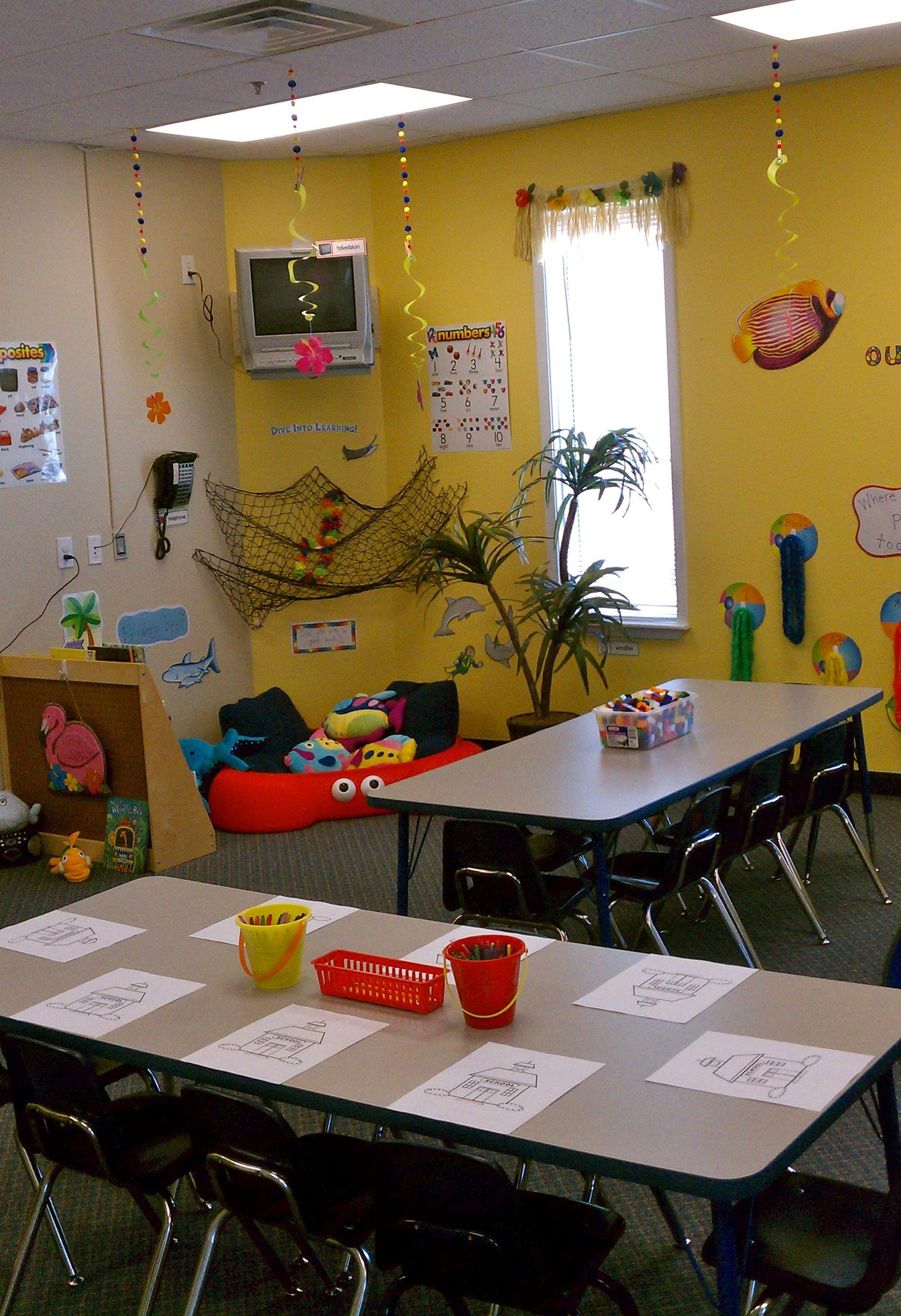Classroom Beach Decor ~ Reading nooks in a classroom beach themed