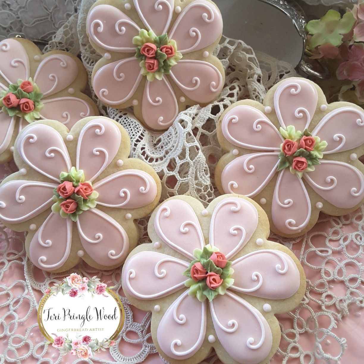 Flower Cookies Decorated Cookies Mothers Day Cookies Birthday