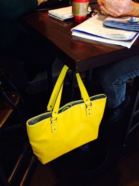 Bright Yellow Tote By Kate Spade Hangs Perfectly On Humphooks Permanent Purse Hook For Tables In