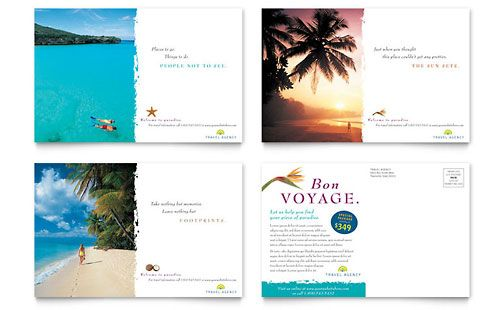 Travel Agency Postcard Template by @StockLayouts | Postcard ...