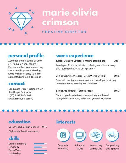 Pink and Blue Illustrated Infographic Resume CV Pinterest - resume valley