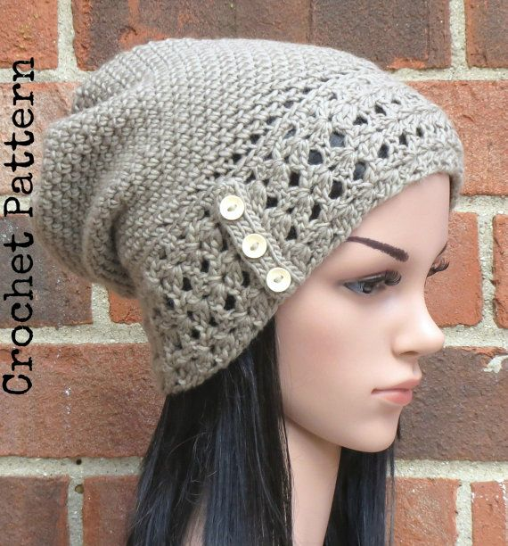CROCHET HAT PATTERN Instant Pdf Download - Aerith Slouchy Beanie Hat ...