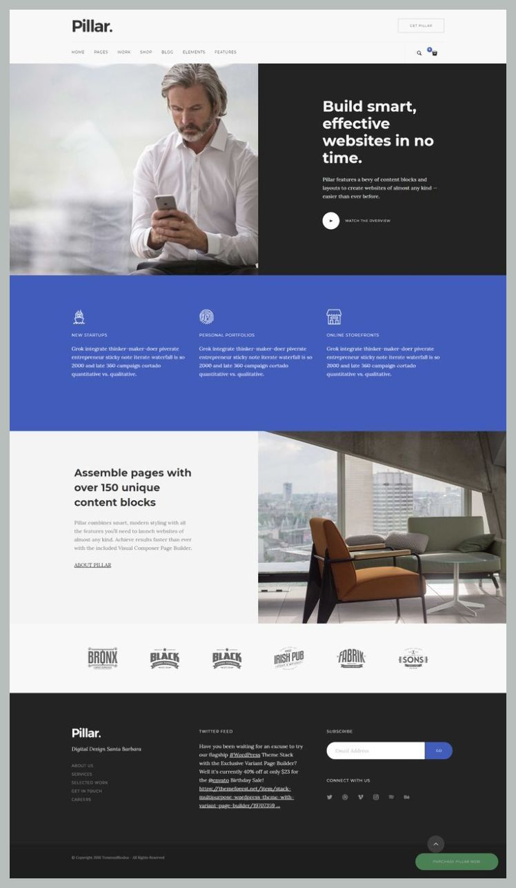 Responsive Webdesign Top 10 Modern Stylish Trendy Wordpress Themes For A New Startup Com Corporate Website Design Website Design Services Web Design Tips