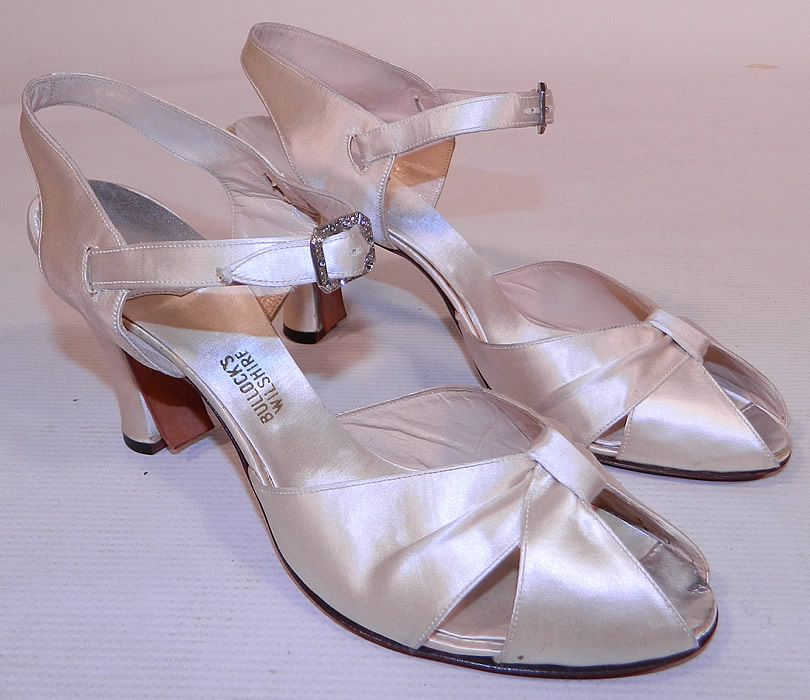 1930 S White Silk Satin Ankle Strap Evening Bridal Wedding Shoes