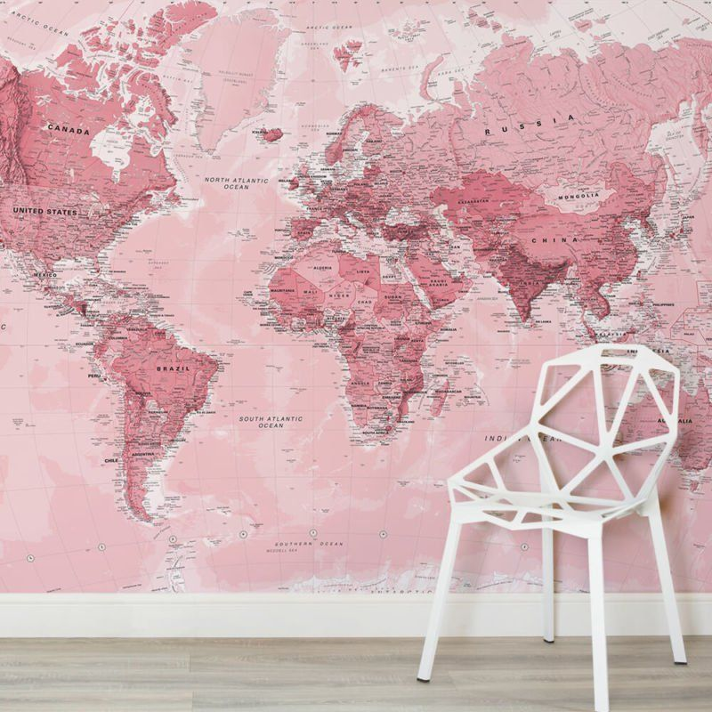 Pink world map maps square 2 wall murals apartment pinterest pink world map maps square 2 wall murals gumiabroncs Choice Image