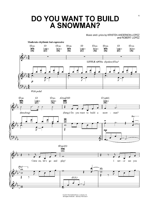 Do You Want To Build A Snowman? Sheet Music by Robert ...