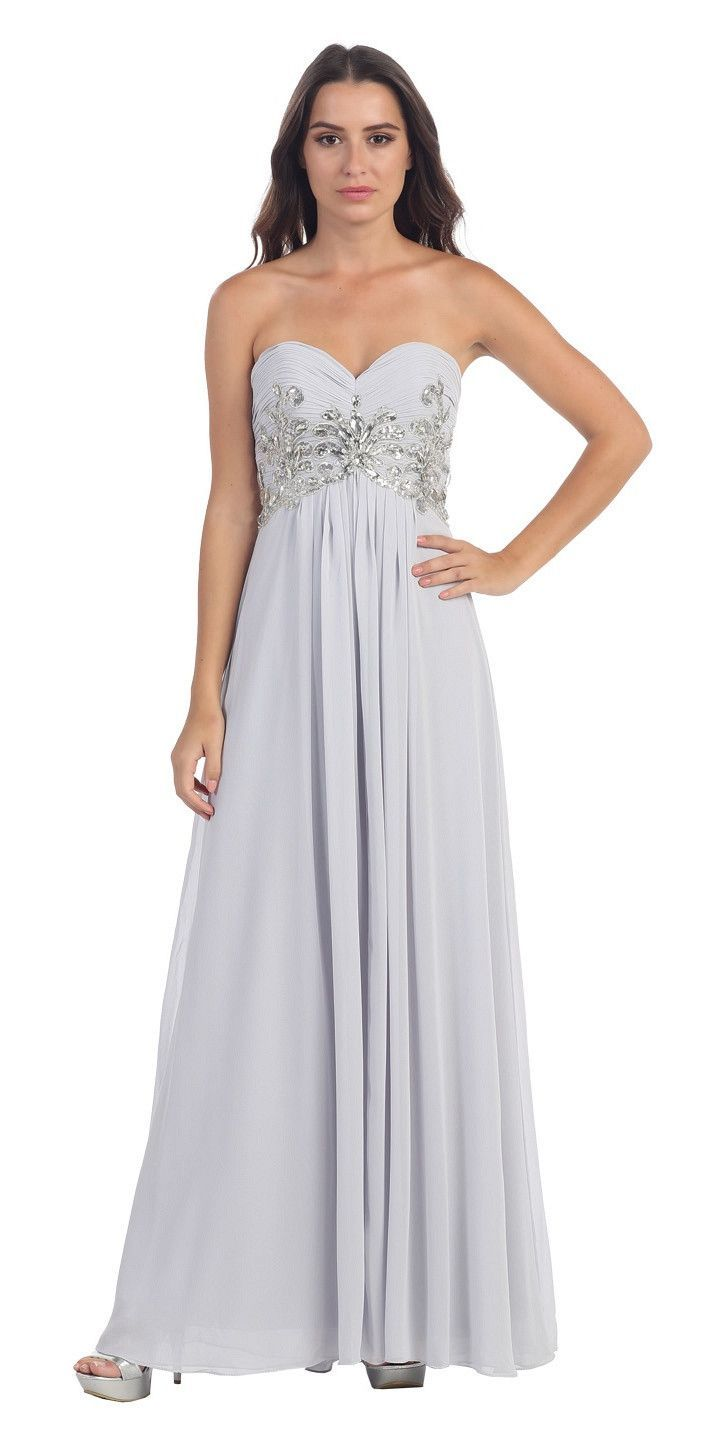 Sweetheart neck silver formal gown long flowy strapless formal