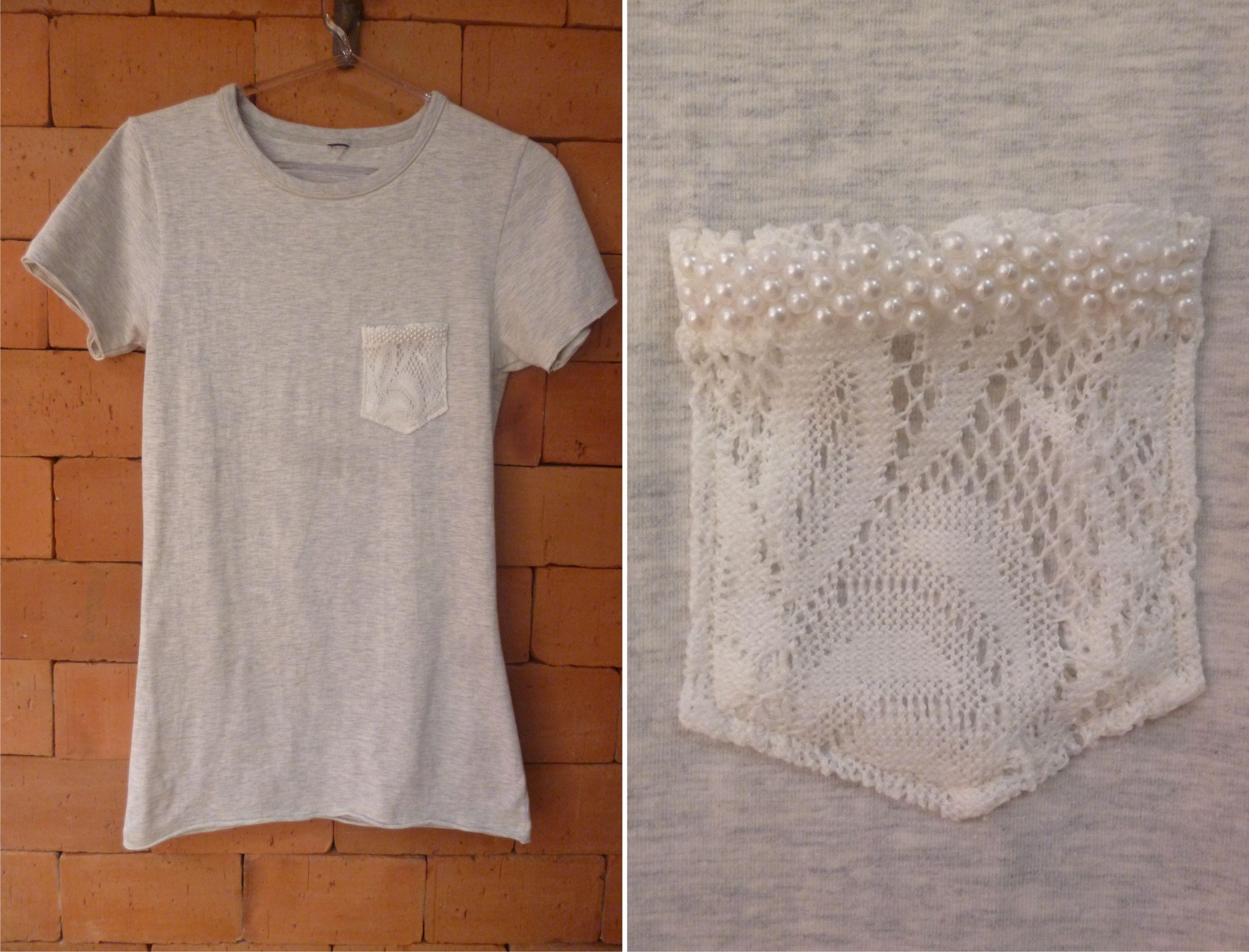 Customizando t shirt básica com bolso | Camisetas