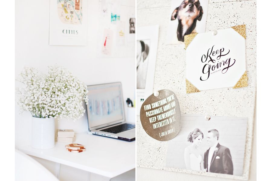 More inspiration under the click, love her workspace!  Dog Friendly Studio: His + Hers + Coco's | Pretty Fluffy