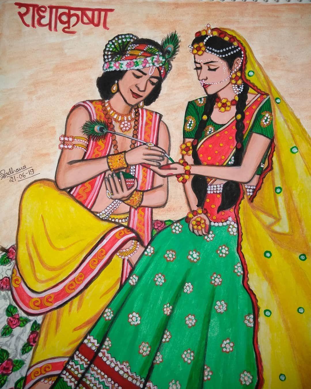 Beatking Sumedh Mallika Singh Official Radhakrishn Starbharat Show Simple Art Watercolorart Painting Krishna Art Krishna Painting Radha Krishna Art