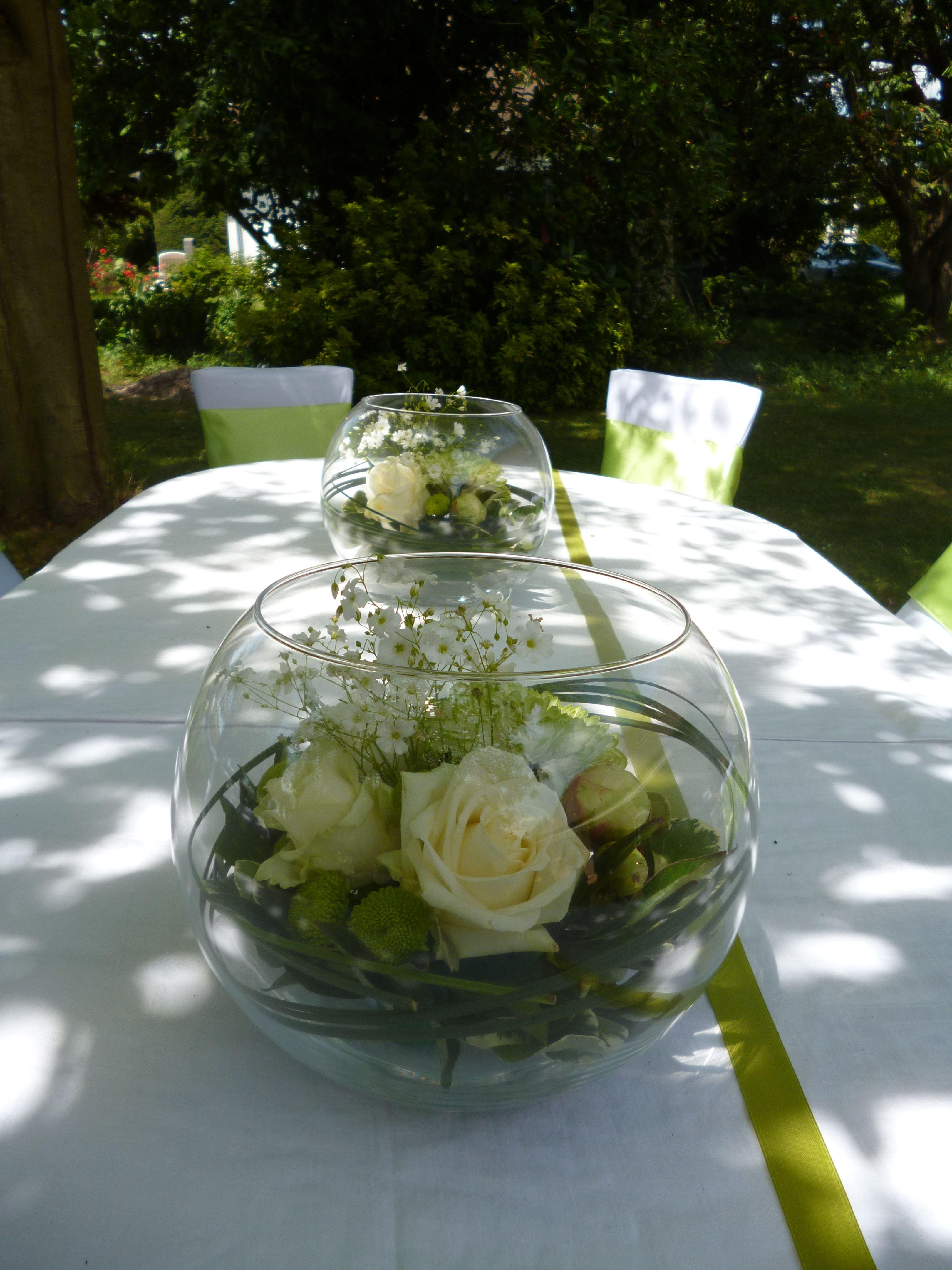 Vase boule composition champetre bucolique vert et blanc for Mini aquarium boule