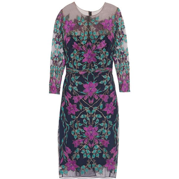 Marchesa Notte Embroidered tulle dress (1.314.695 COP) ❤ liked on Polyvore featuring dresses, navy, multi color dress, tulle dress, slimming cocktail dresses, navy dress and slim fit dress