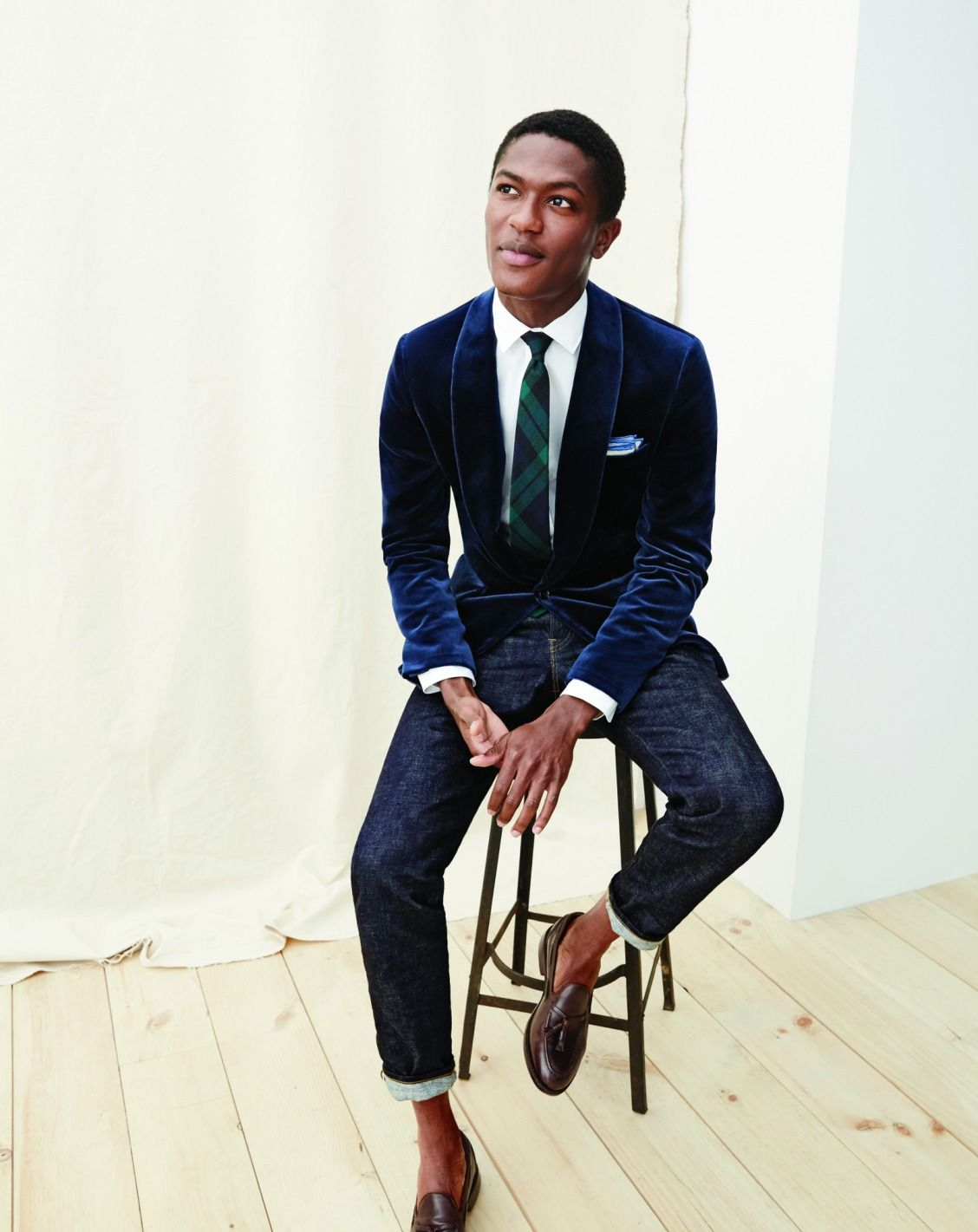 53637b683cc75 The J.Crew men s slim Ludlow fit and sharp Japanese denim jeans make the  classic yuletide blazer look less precious and more modern.  howiludlow