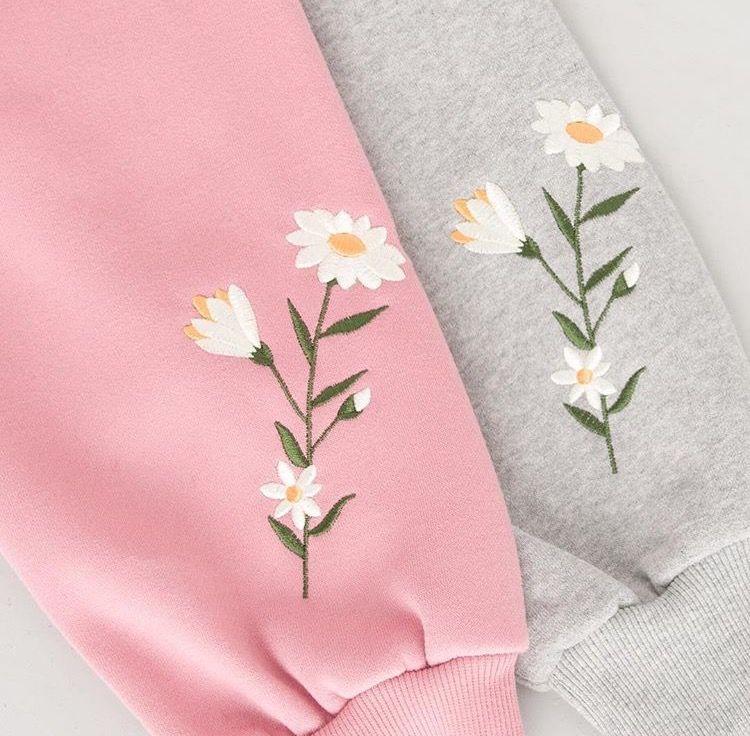 Flower embroidered sleeve sweatshirt embroidery sweater