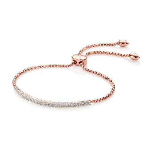 Rose Gold Vermeil Stellar Mini Bar Bracelet - White Diamond - Monica Vinader