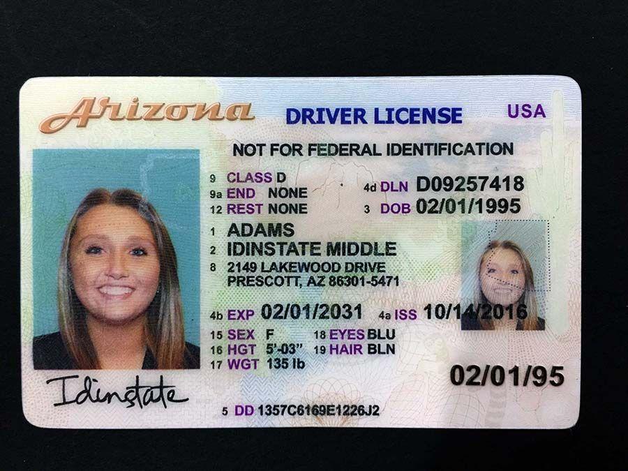 Arizona fake id id card template micro print arizona