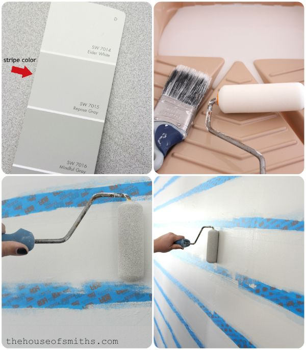 DIY Tutorial: Painting Evenly Spaced Gray Stripes on an Accent Wall #graystripedwalls