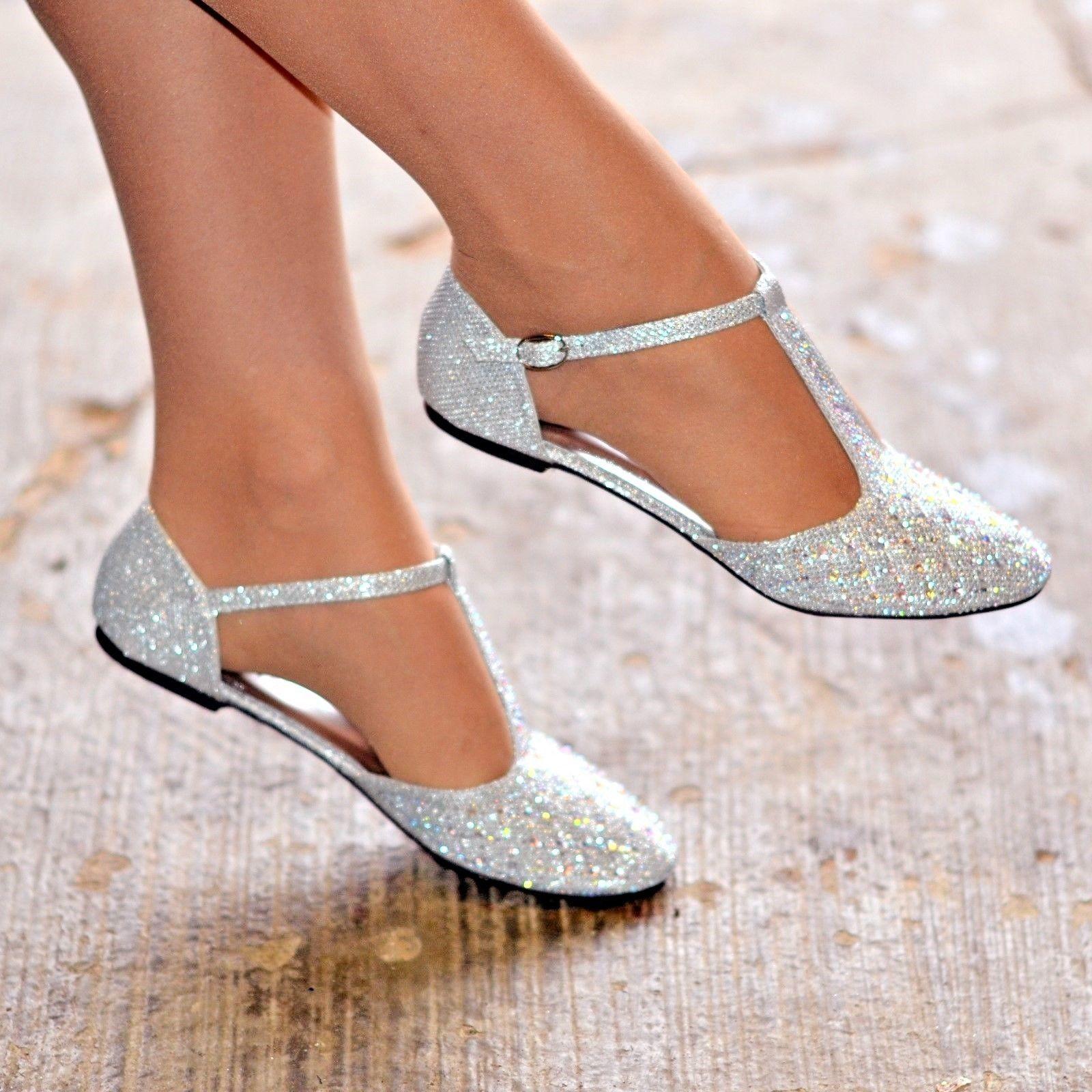 635d8aa314b73 Women Diamante Rhinestone Ballet Shoes Flats T Bar Pumps Prom Wedding  Evening | eBay