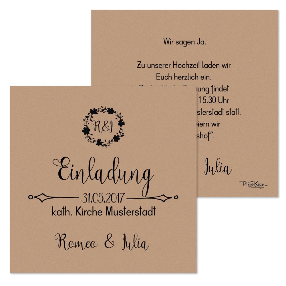 Quadratische Einladungen Hochzeit Vintagestyle Romeo Julia Einladungskarten Hochzeit Wir Sagen Ja