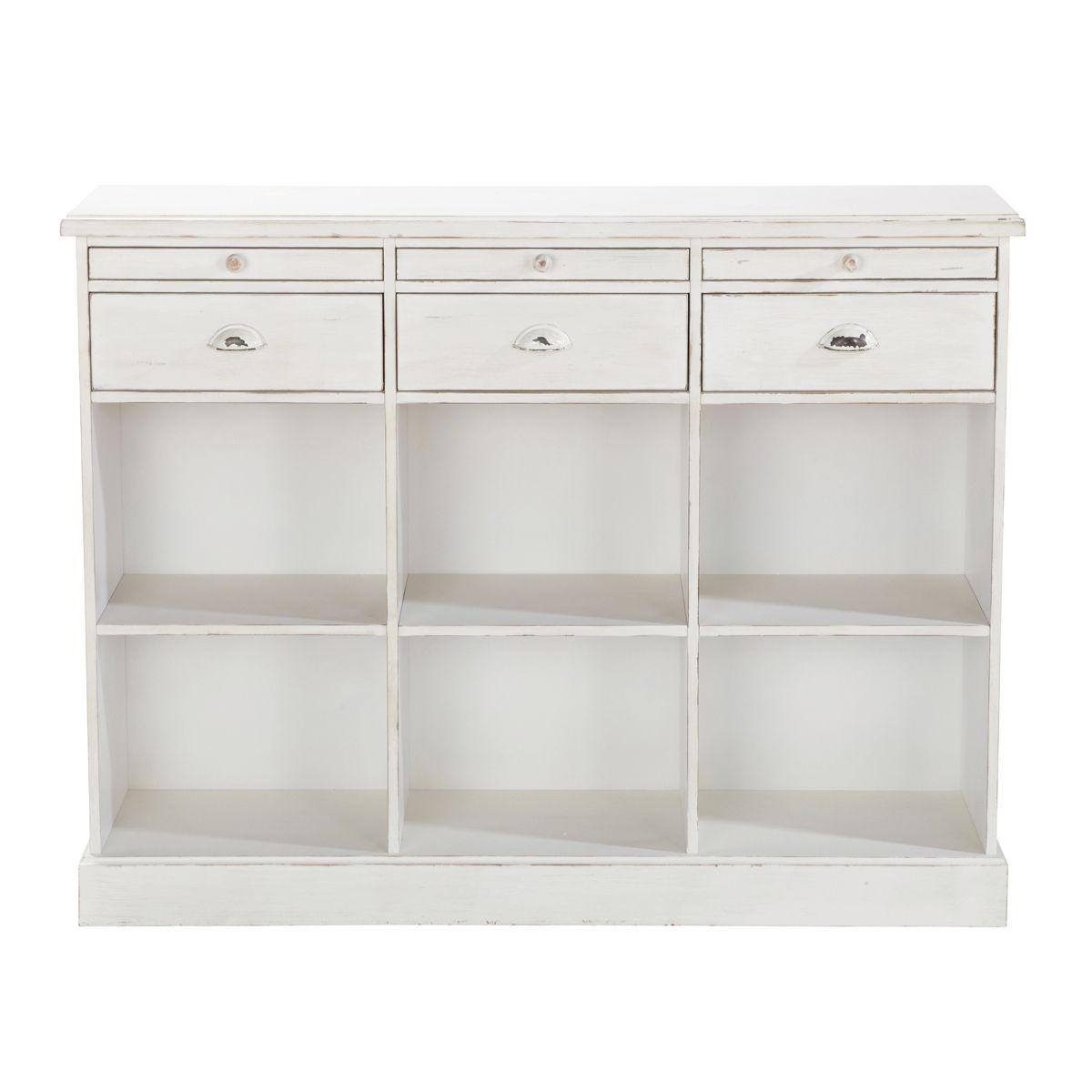 Cajonera consola mueble de oficio blanco marfil GARANCE | Home sweet ...