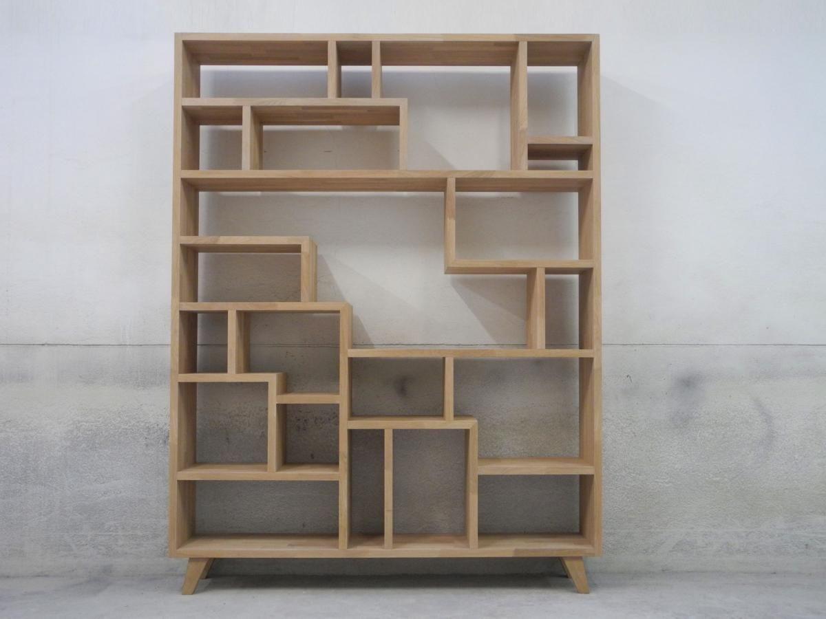 Hervorragend Open Wandkast Met Speelse Verdeling In Massieve Gelamelleerd Eikenhout  Cabinet Inspiration, Storage Shelves, Wall