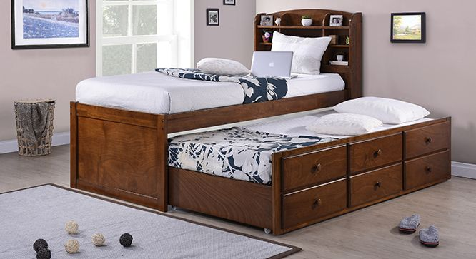 Ateneo Storage Headboard Single Bed with Trundle and Storage