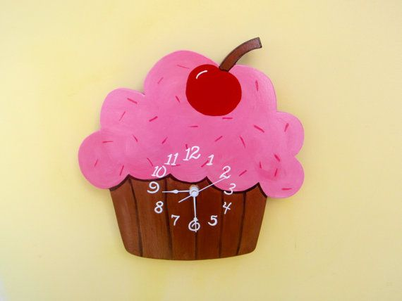 Cupcake Clock Hand Painted Wood Scroll Saw Customize by catzrulez, $30.00