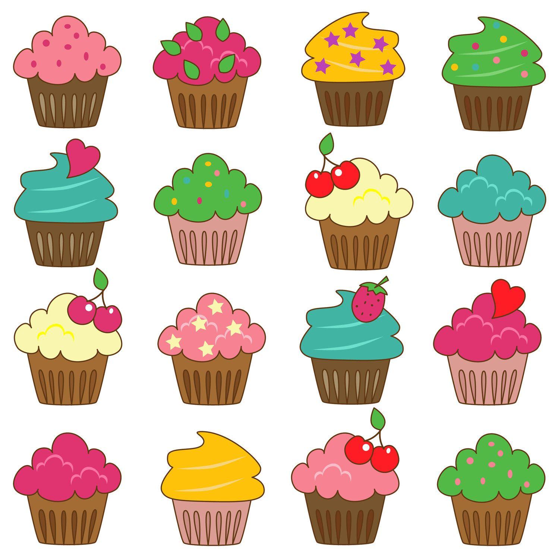 Cupcakes Clip Art Clipart Commercial And Personal Etsy Verjaardagskalender Illustraties Knutselideeen