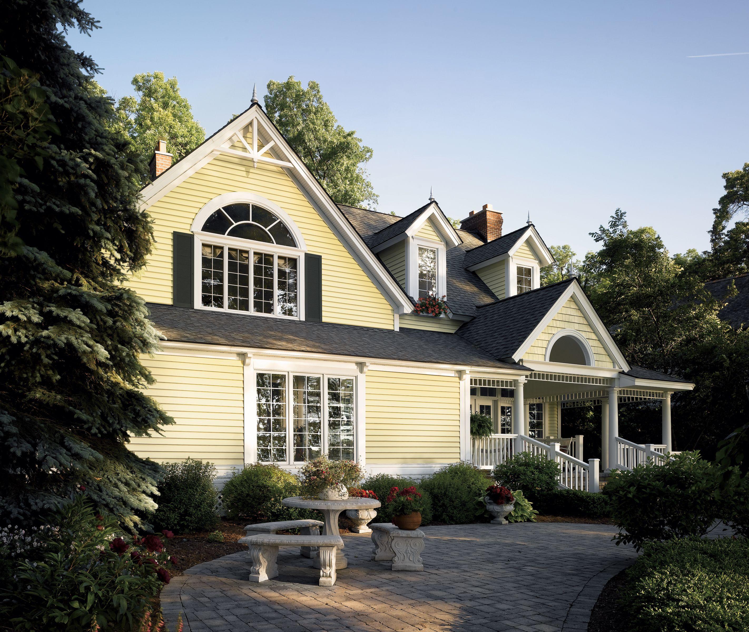 Certainteed Siding Monogram Autumn Yellow Luxury Homes Exterior House Exterior Siding Styles