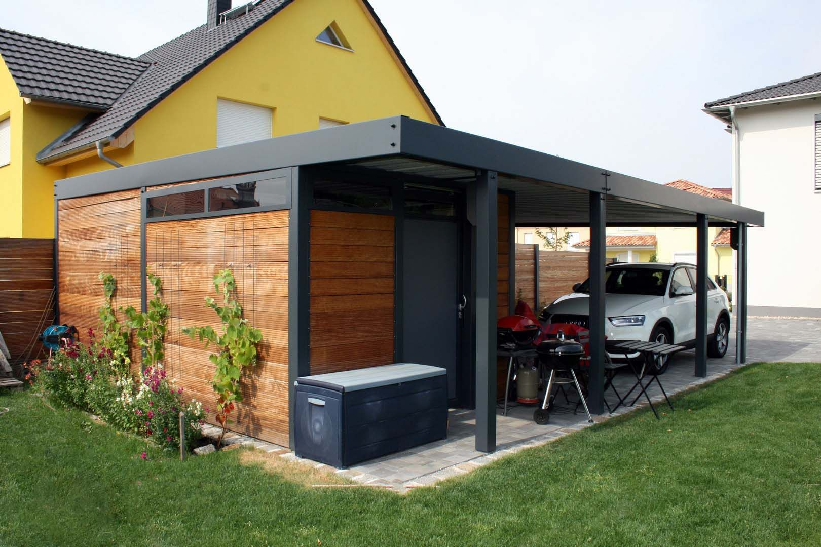Design metall carport aus holz stahl glas mit ger teraum for Carport blueprints