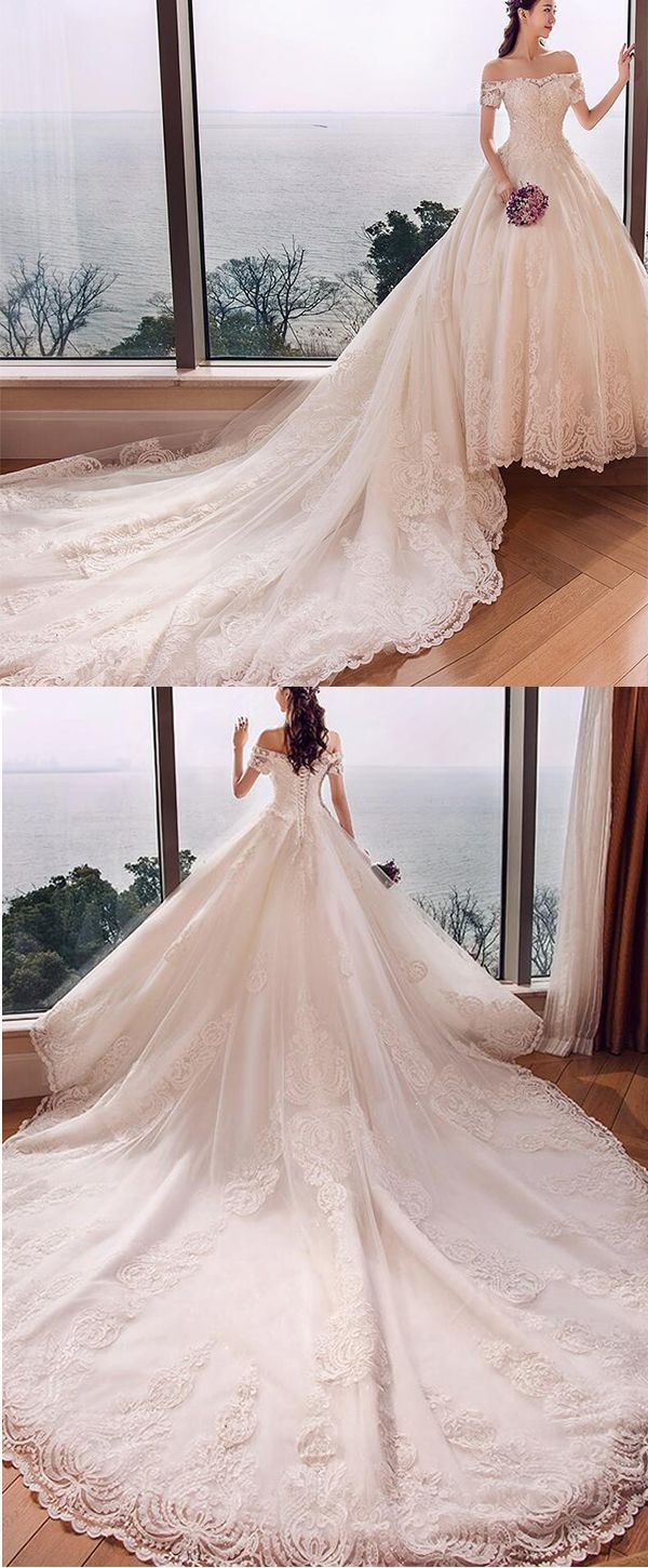Beaded ball gown wedding dress  Fascinating Tulle Offtheshoulder Neckline Ball Gown Wedding Dress
